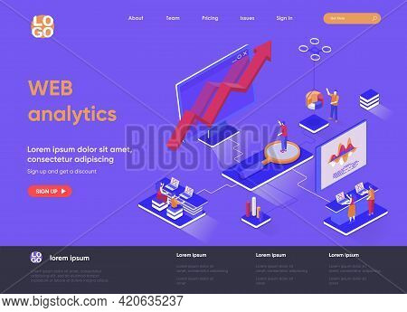 Web Analytics Isometric Landing Page. Online Business Analytics, Data Analysis Service, Stock Tradin
