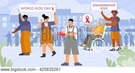 Discrimination Aids Composition With Flat Cityscape Background And Group Of Walking Activists With S
