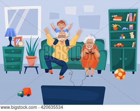 Happy Grandparents Entertaining Grandson Playing Virtual Games Online Together Sitting Home On Sofa