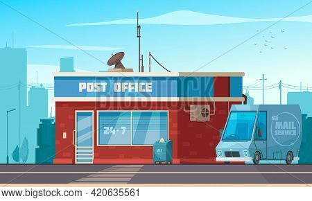 Post Office Building Exterior View With Van Mailbox Parcel Collect Service Cartoon Composition Citys