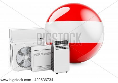 Austrian Flag With Cooling And Climate Electric Devices. Manufacturing, Trading And Service Of Air C