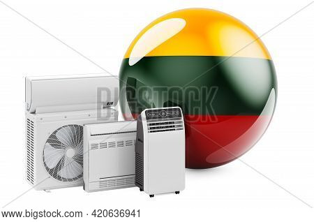 Lithuanian Flag With Cooling And Climate Electric Devices. Manufacturing, Trading And Service Of Air