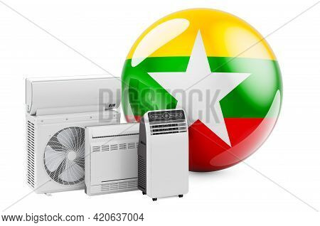 Myanmar Flag With Cooling And Climate Electric Devices. Manufacturing, Trading And Service Of Air Co