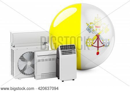 Vatican Flag With Cooling And Climate Electric Devices. Manufacturing, Trading And Service Of Air Co