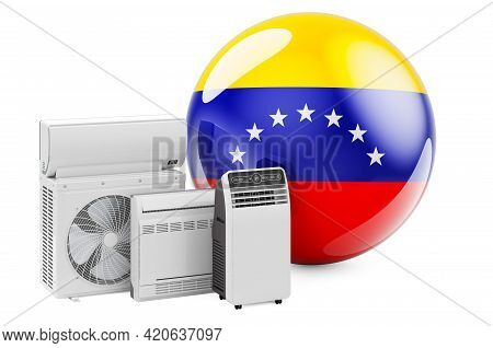 Venezuelan Flag With Cooling And Climate Electric Devices. Manufacturing, Trading And Service Of Air