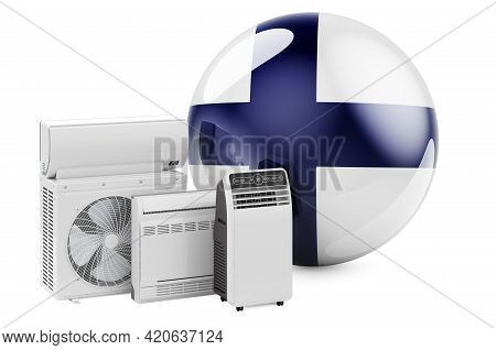 Finnish Flag With Cooling And Climate Electric Devices. Manufacturing, Trading And Service Of Air Co