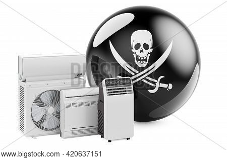 Piracy Flag With Cooling And Climate Electric Devices. 3d Rendering Isolated On White Background