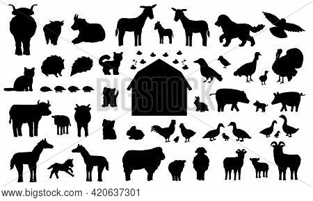 Set Of Silhouette Cartoon Farm Animals. Vector Collection Of Wooden Barn, Donkey Goose Cow Bull Pig