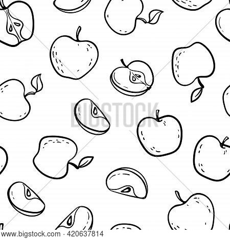 Beautiful Black And White Seamless Doodle Pattern With Cute Doodle Apples Sketch. Hand Drawn Trendy