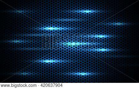 Dark Blue Background. Dark Hexagon Carbon Fiber Texture. Navy Blue Honeycomb Metal Texture Steel Bac