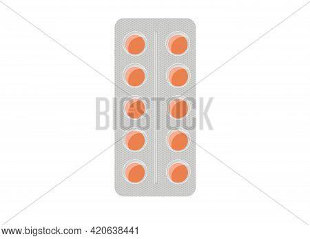 Vector Illustration Of Orange Pills Packed In Platinum. Medicines Or Vitamins