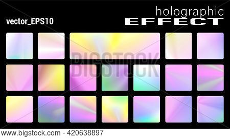 Holographic Glitter Texture Collection, Trendy Discs Backgrounds With Ultraviolet Metallic Effect. H
