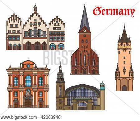 Germany, Hamburg, Munich And Frankfurt Architecture Buildings, Vector Travel Landmarks. Railway Stat