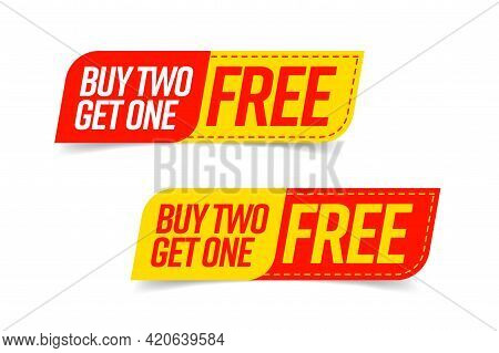 Buy Two Get One Free Template Voucher Or Coupon Set. Special Shop Store Discount Tag, Sticker, Label