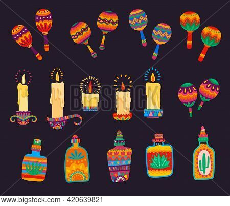 Mexican Cartoon Maracas, Candles And Tequila Bottles With Vector Ethnic Ornaments Of Bright Flowers,
