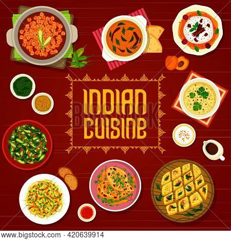 Indian Cuisine Restaurant Menu Cover With Vector Food Of Meat And Vegetable Curry, Cake And Ice Crea