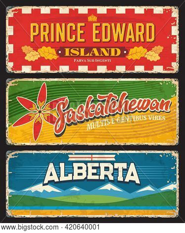 Prince Edward Island, Saskatchewan And Alberta Canadian Provinces And Regions. Vector Plates With Fl