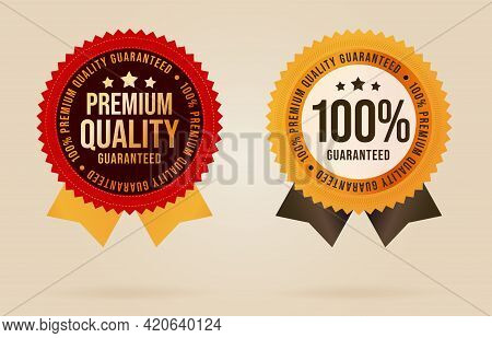 Quality Guarantee Sticker Label, Badge For Certified Product. Descriptive Selling Special Retail Eti