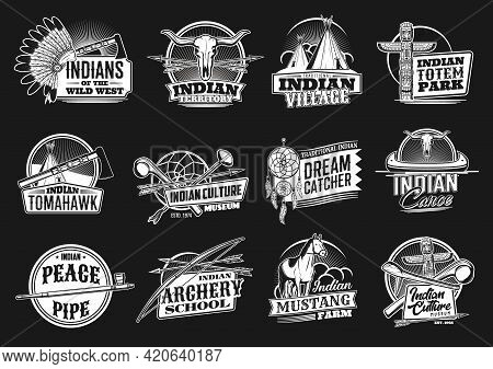 Indian, Wild West Vector Icons Indians Territory, Village Or Totem Park, Tomahawk, Culture Museum An