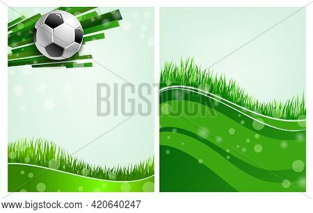 Sport Poster With Football Ball And Green Grass, Soccer Field. Vector Cards For Championship, Tourna