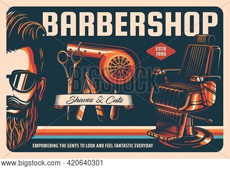 Barbershop Retro Poster, Barber Shop Haircut Salon, Beard And Mustache Grooming, Vector. Barbershop
