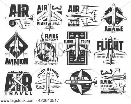 Air Travel Tours And Aviation School Icons Set. Army Flying Academy Training Center, Pilot Courses E