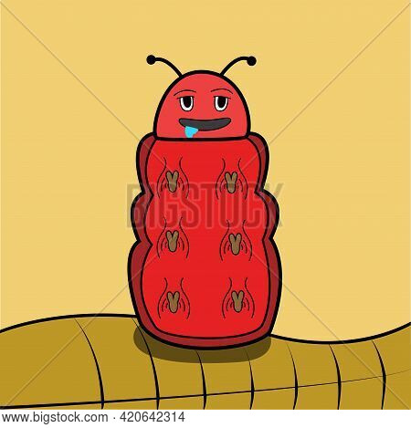 Vector Of Drool Red Caterpilar And Brown Leaf Background. Perfect For Color Learning, Background, Pr