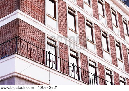 Classic Architecture, Old Building Brick Facade And Windows, Architectural Detail Background.