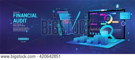 Financial Audit Web Page Banner. Modern Financial Management. Business Account Tax Report, Laptop Wi