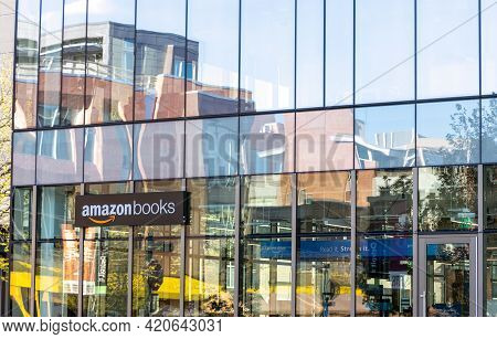 Denver, Colorado - May 12, 2021: Amazon Books Physical Retail Location Building Sign On The Bookstor
