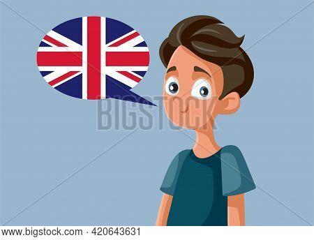 Teen Boy Speaking English Vector Cartoon Illustration