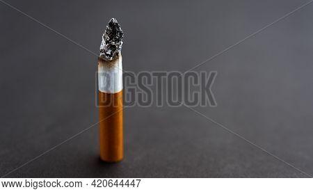 31 May Of World No Tobacco Day, No Smoking, Close Up Of Broken Pile Cigarette Or Tobacco On Black Ba