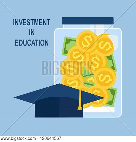 Education Saving Plan For The Future. Investment In Education. Scholarship. Money In Glass Bottle Wi