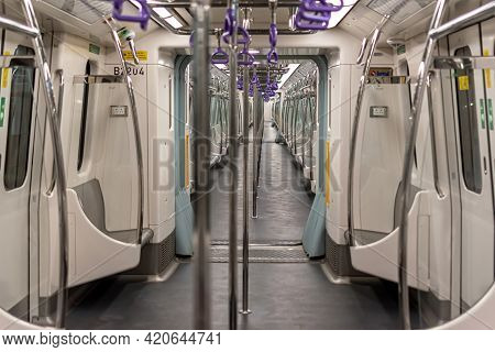 A View Of Subway Train Interior Of Kolkata East West Metro System