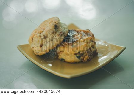 Fresh Scone Served On Yellow Dish. Afternoon Tea Break Concept