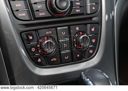 Novosibirsk, Russia - May 16, 2021: Opel Astra,   Close Up Of  Climate Control In An Expensive Car.