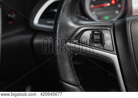 Novosibirsk, Russia - May 16, 2021: Opel Astra,   Black Steering Wheel With Multifunction Buttons Fo