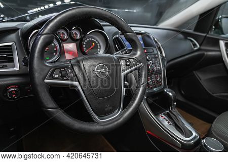 Novosibirsk, Russia - May 16, 2021: Opel Astra,   Cockpit Interior Cabin Details, Speedometer And Ta