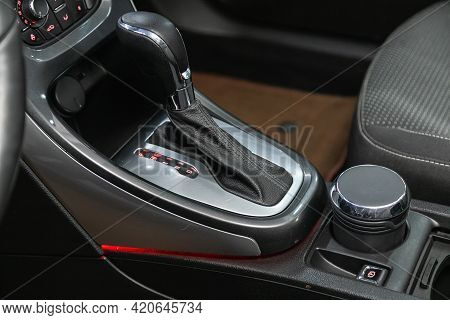 Novosibirsk, Russia - May 16, 2021: Opel Astra,   Close Up Of The Manual Gearbox Transmission Handle