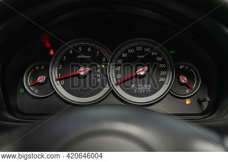 Novosibirsk, Russia - May 16, 2021: Subaru Outback,   Close Up Instrument Automobile Panel With Odom