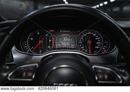 Novosibirsk, Russia - May 16, 2021: Audi A7,   Close Up Instrument Automobile Panel With Odometer, S