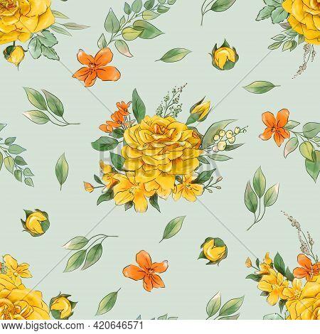 Seamless Pattern Of Flowers.yellow And Orange Roses