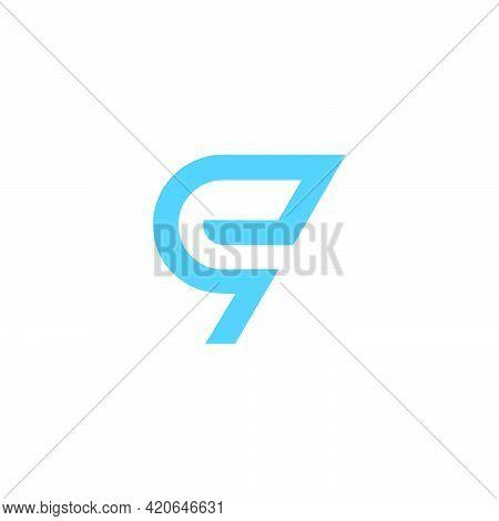 Abstract Letter Eq Simple Line Art Geometric Arrow Logo Vector