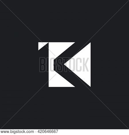 Letter Lk Abstract Geometric Negative Space Square Logo Vector