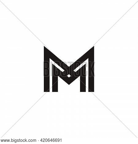 Letter Mx Simple Stripes Geometric Logo Vector