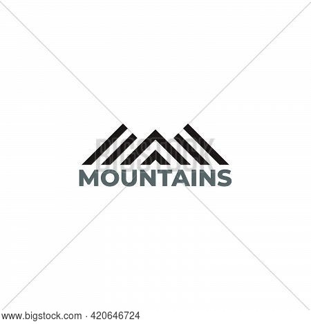 Stripes Triangles Mountains Geometric Simple Logo Vector