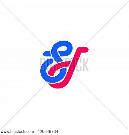 Letter Sd Linked Curves Colorful Line Logo Vector