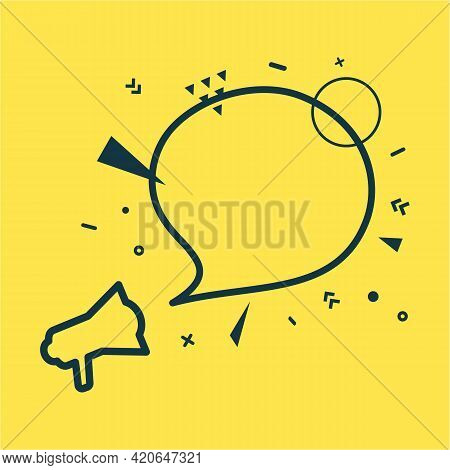 Speech Bubble And Megaphone With Abstract Geometric Shapes. Outline Loudspeaker Sticker And Black Fr