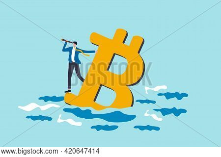 Bitcoin Price Down, Future Of Crypto Currency Price Or Vision To See Cryptocurrency Market Concept,