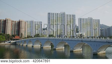 Sha Tin, Hong Kong 14 March 2021: Shing Mun River Channel and hong kong residential building